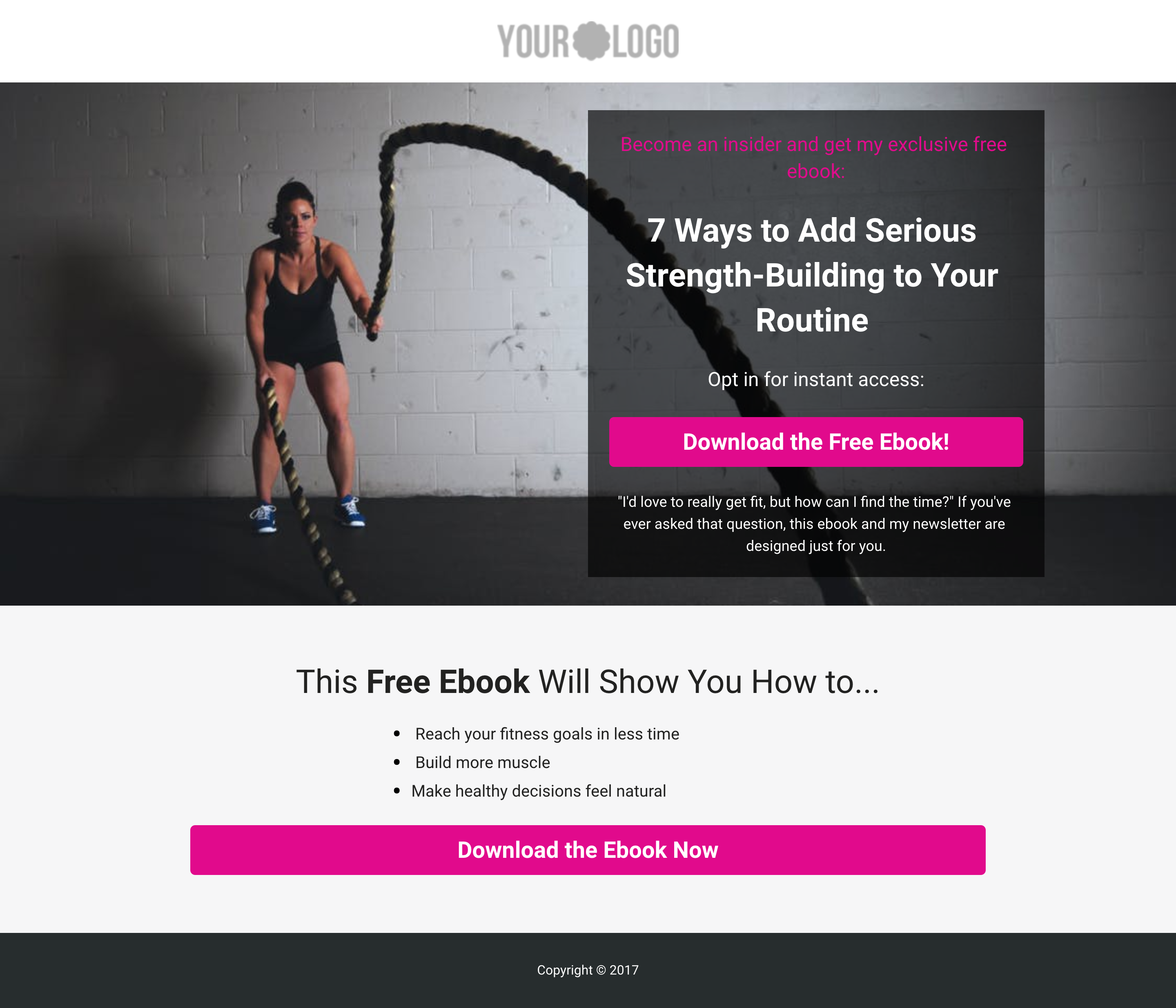 Health & Fitness Opt-in Landing Page Template (With Images