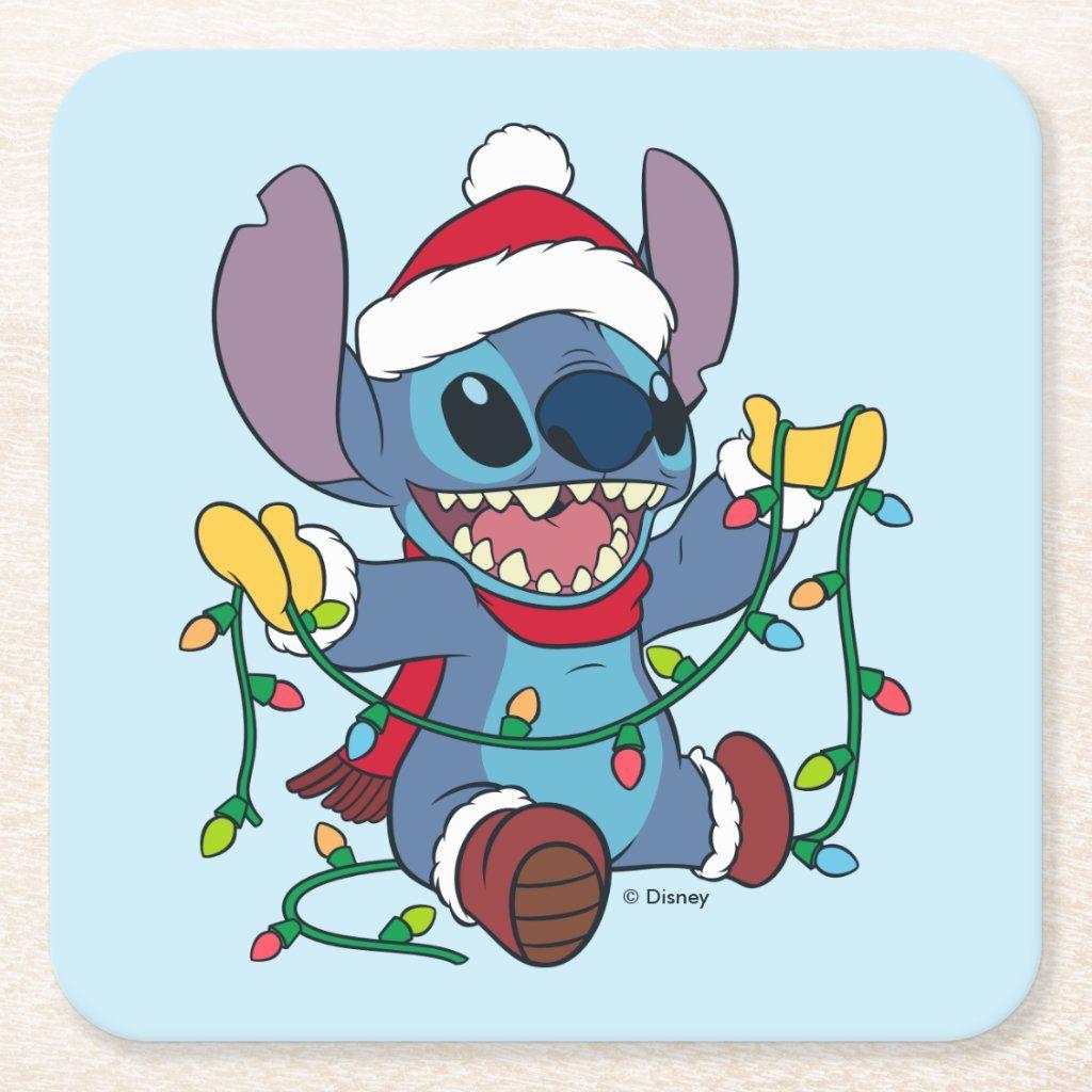 Stitch Christmas Lights Square Paper Coaster Zazzle Com Cute Christmas Wallpaper Cute Disney Wallpaper Stitch Disney