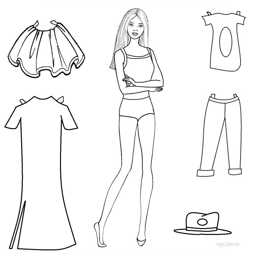 Paper Barbie Doll Coloring Pages Paper Doll Template Free Printable Paper Dolls Paper Dolls Printable