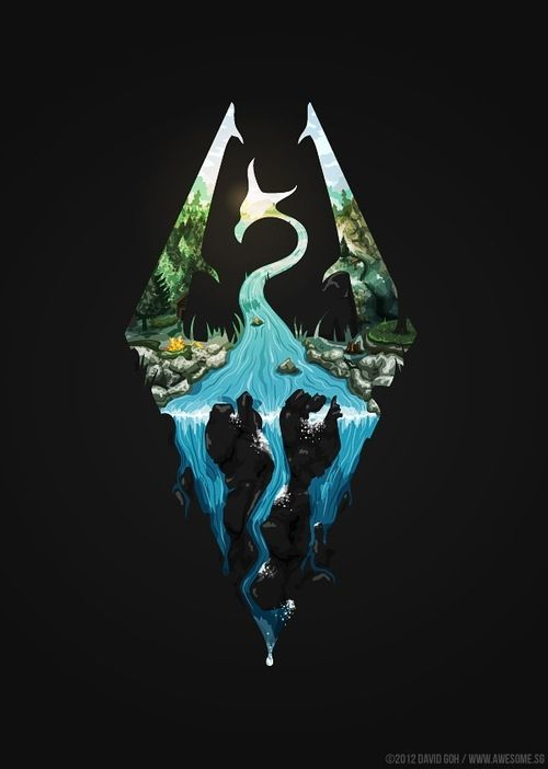 Skyrim Logo Art Via Reddit User Squrrils72 Video Game Art