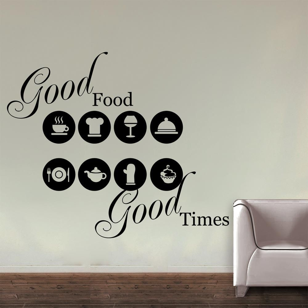 home wall decals about food and time for restaurant wall