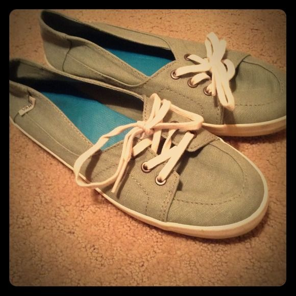 Green vans slip ons Women's green vans, only worn a couple times I accidentally got the wrong size! Super cute with any outfit Vans Shoes Sneakers