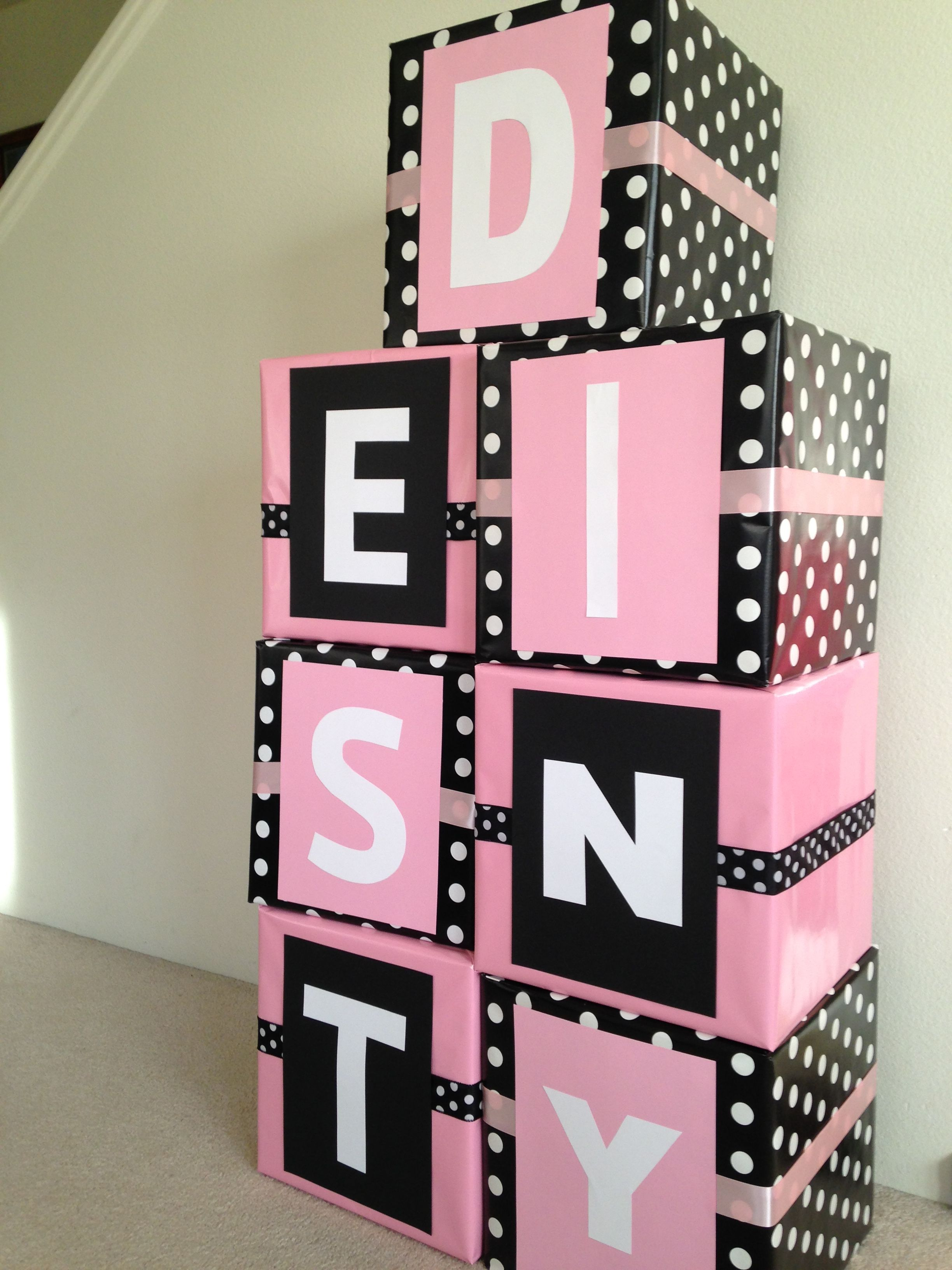 Good Black And Pink Baby Shower Part - 14: Black/White Polka Dot And Pink Baby Shower. Baby Girl. Baby Blocks Of