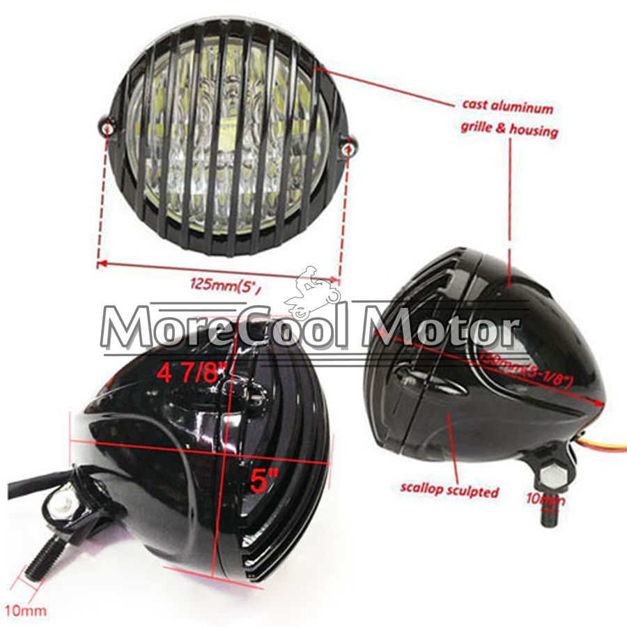 Motorcycle Head Light Finned Grill LED Head Light For CAFE RACER BOBBER XS650