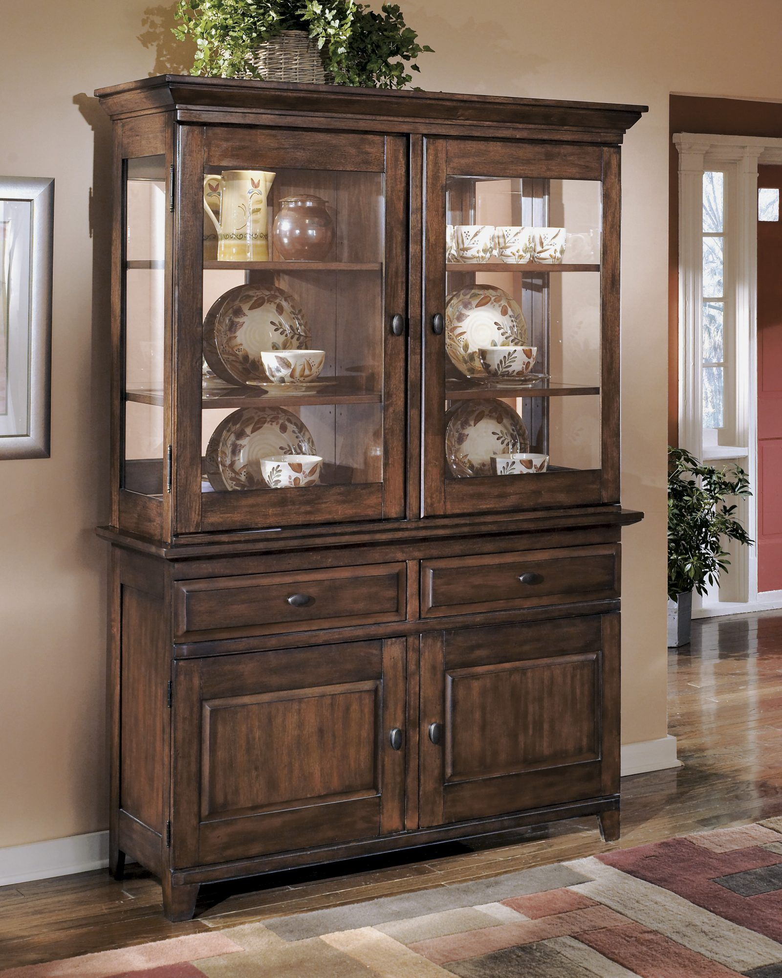 Casual Dining Room Buffet Decorating Ideas: Burnished Dark Brown