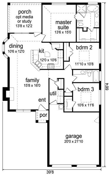 one story house plans 1500 square feet 2 bedroom | 1500 Sq ... on