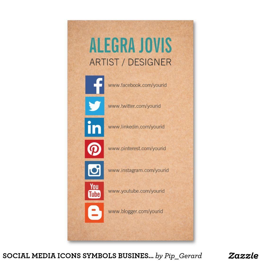 Social Media Icons Symbols Business Card Zazzle Com Social Media Business Cards Media Business Cards Social Media Business