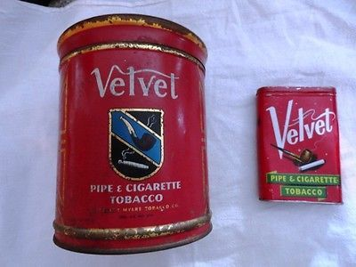 TWO VELVET TOBACCO TINS - ONE CANISTER SIZE AND ONE POCKET SIZE