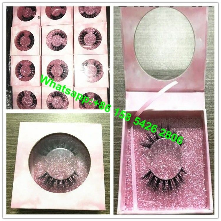 ef25931e96a 2018 popular pink glitter paper Custom 3D mink LASHES Private Label square  false eyelash box