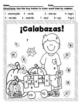 Calabaza Color By Number Spanish Spanish Colors Spanish Numbers Spanish Kids