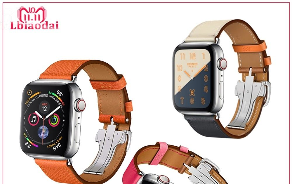 2d3bfd177 Big SALE Leather strap For Apple watch band 42mm 38mm 44mm 40mm iwatch  correas 4 3 2 1 Stainless steel bracelet Deployment Buckle belt