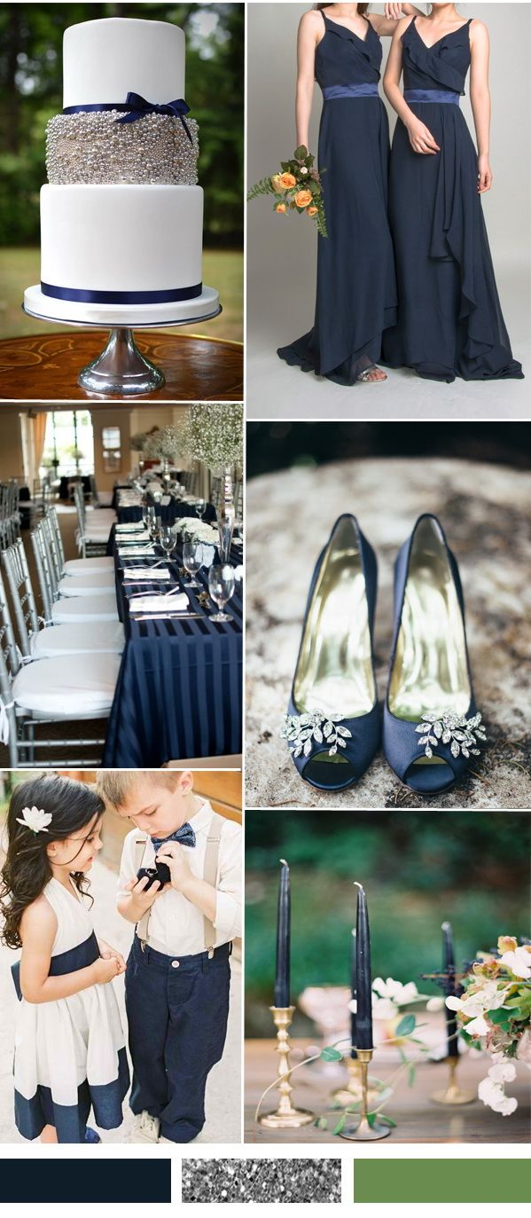 Dark navy and silver wedding color ideas and bridesmaid dresses for