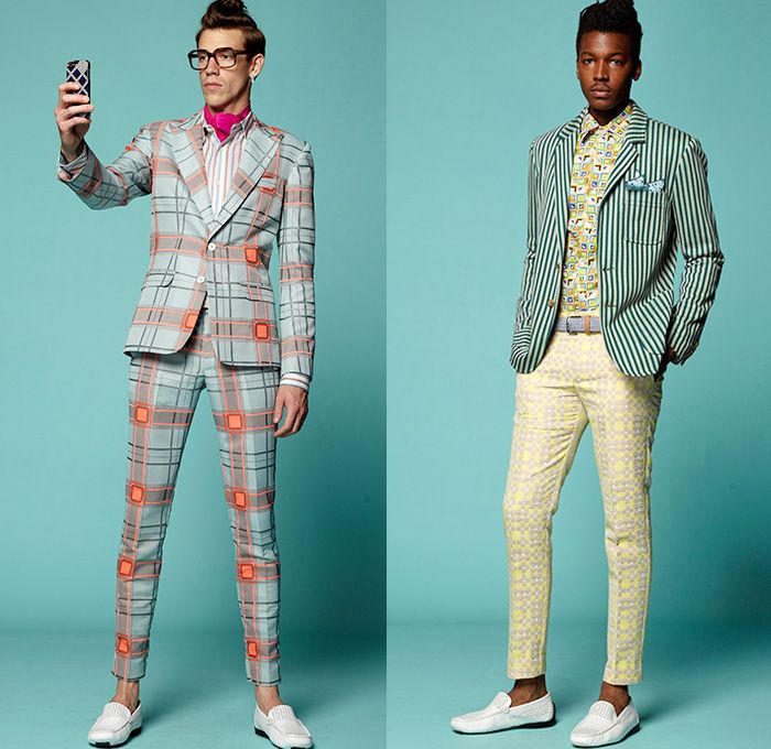 4067fc2ac868 Trina Turk 2015 Spring Summer Mens Lookbook Presentation - Mercedes-Benz  Fashion Week New York MBFW - 1960s Sixties Windowpane Checks Suit Slim  Tapered ...