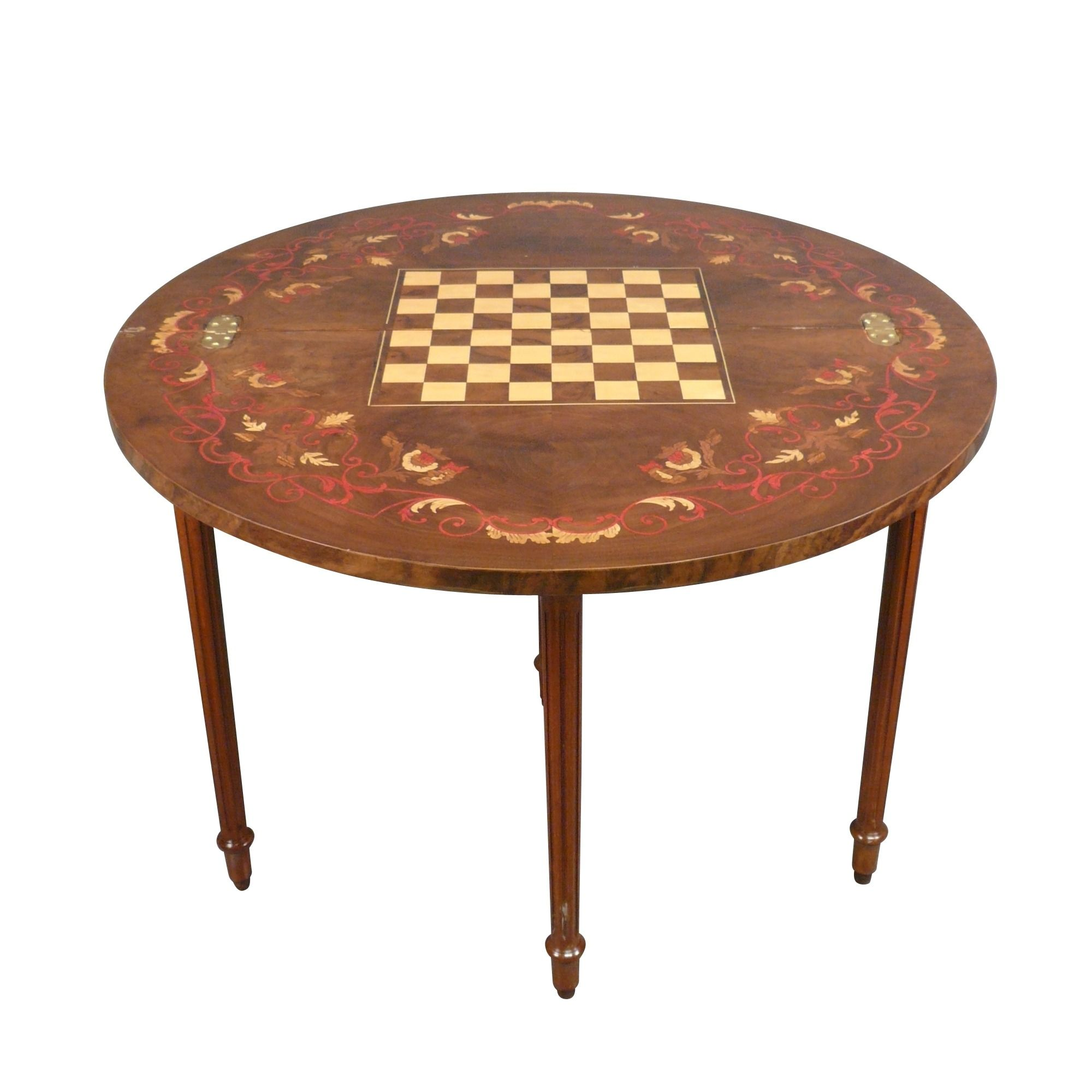 Table De Jeux D Echecs Demi Lune Louis Xvi Table Meubles De Style Table De Jeux Mobilier De Salon Meuble De Style