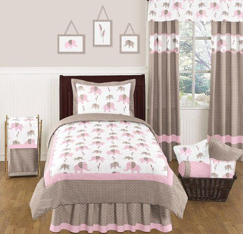 Pink And Brown Mod Elephant Childrens And Kids Bedding 4pc Twin Set