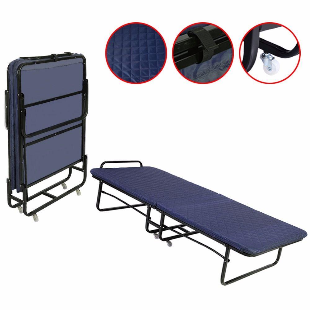 Goplus Folding Bed Foam Mattress Twin Roll Away Guest Portable Sleeper Cot Navy Hw51125dbl