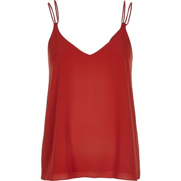 6a52b574f22 River Island Dark orange double strap cami ($32) ❤ liked on Polyvore  featuring tops, tank tops, tanks, cami / sleeveless tops, orange, women, orange  tank, ...