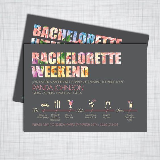 Bachelorette Party Weekend DIY Printable by KLindDesigns on Etsy: