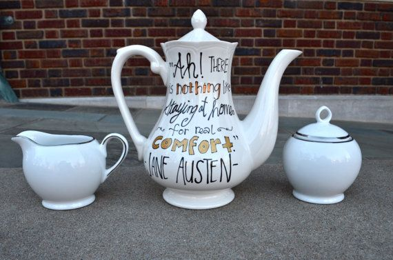 Jane Austen Tea Set Literary Quotes from by OpheliasGypsyCaravan