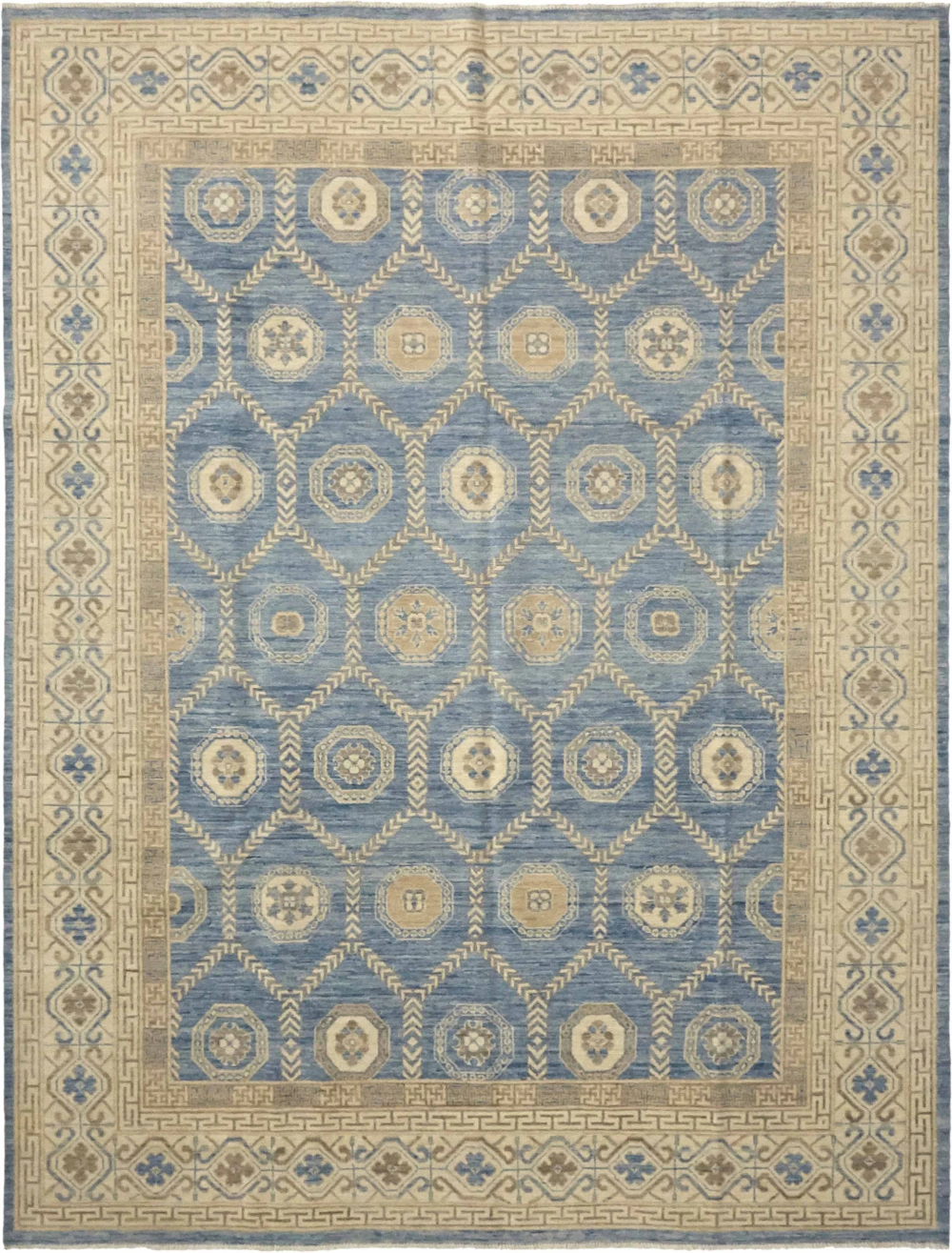 Khotan Hand Knotted Rug Wool 9 X 12 Blue By Solo Rugs In 2020 Area Rug Design Khotan Area Rugs