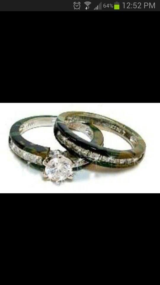 Camo Wedding Rings Anillos De Boda Campestre Los Camuflaje