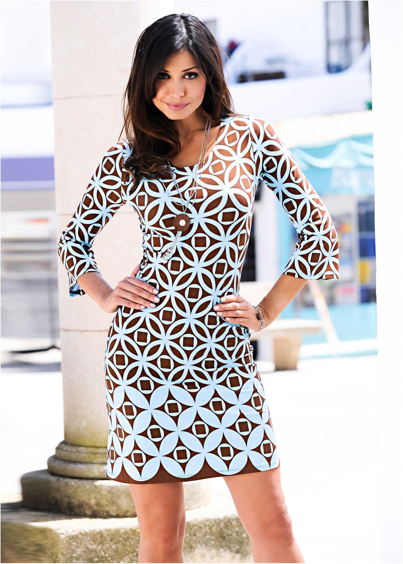 60194ce478 Vestido tubinho estampado marrom azul encomendar agora na loja on-line  bonprix.de