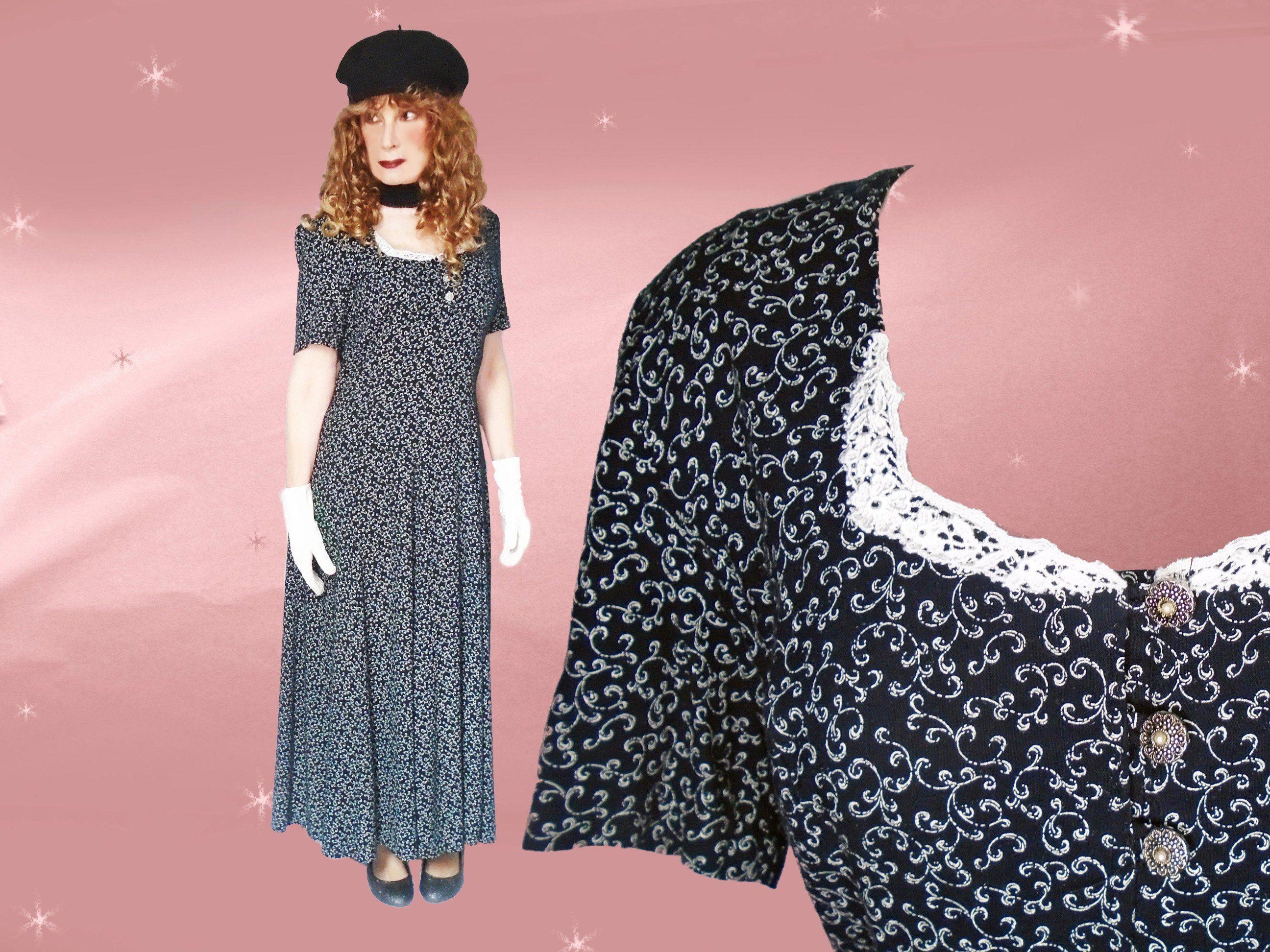 Vintage prairie maxi dress s black u white rayon ditsy floral