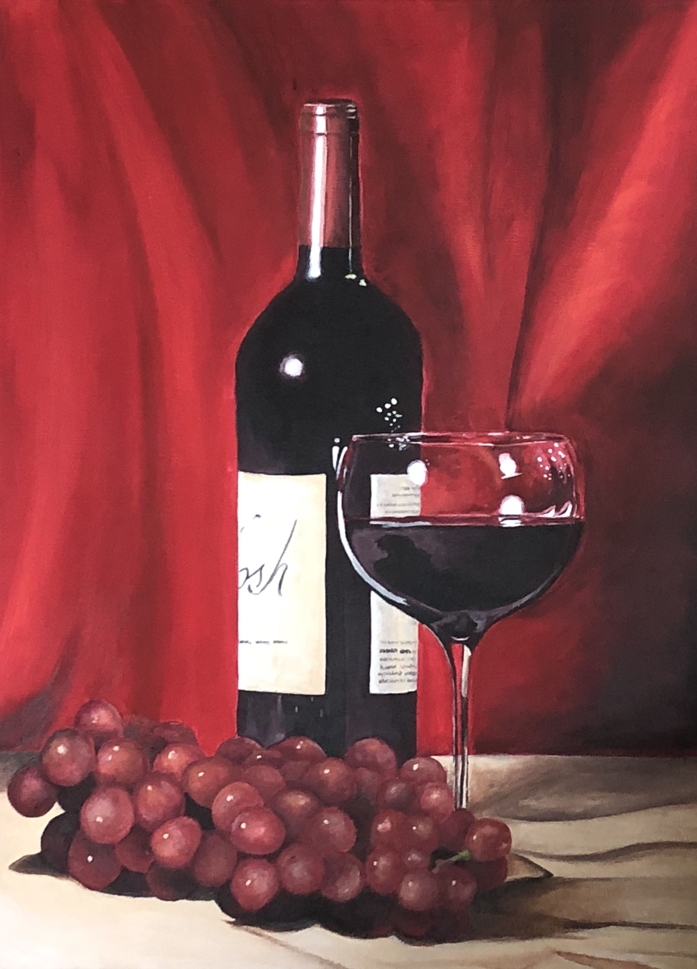 Realism Art Still Life Wine Glass And Grapes Www Etsy Com Shop Claudianolascoart Art Unique Items Products Acrylic Painting Canvas