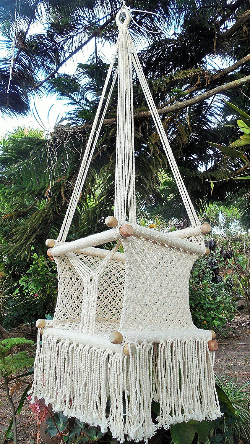Amazon baby hanging chair handmade macrame cotton beige