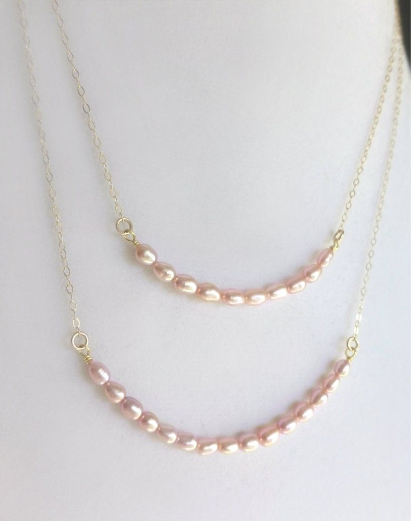 Blush Pink Champagne Pearl Multi Strand Necklace