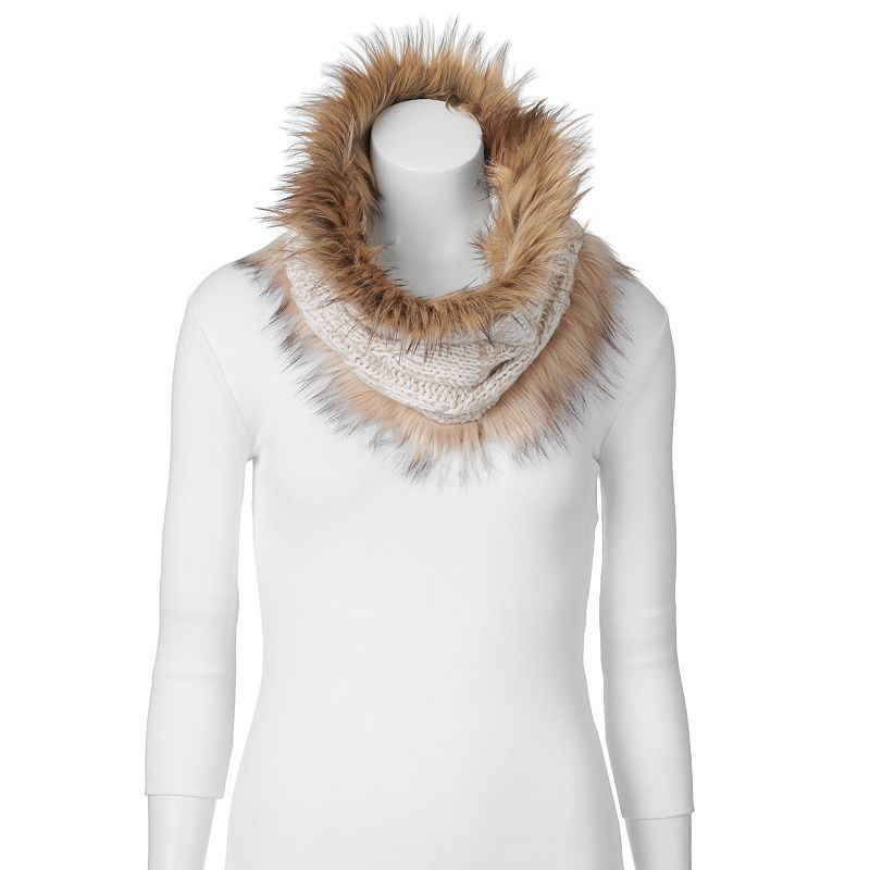 SONOMA Goods for Life™ Cable-Knit Faux-Fur Neck Wrap, Women's, Grey Other