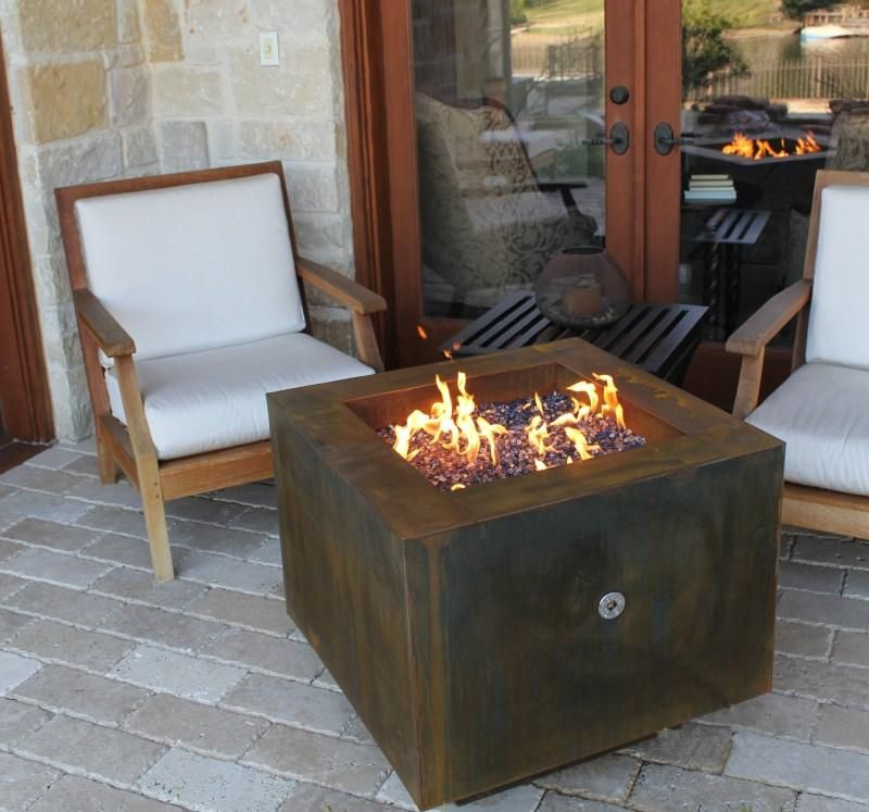 30 Square Cor Ten Steel Fire Pit With Hidden Lp Tank Fire Pit Table Steel Fire Pit Glass Fire Pit