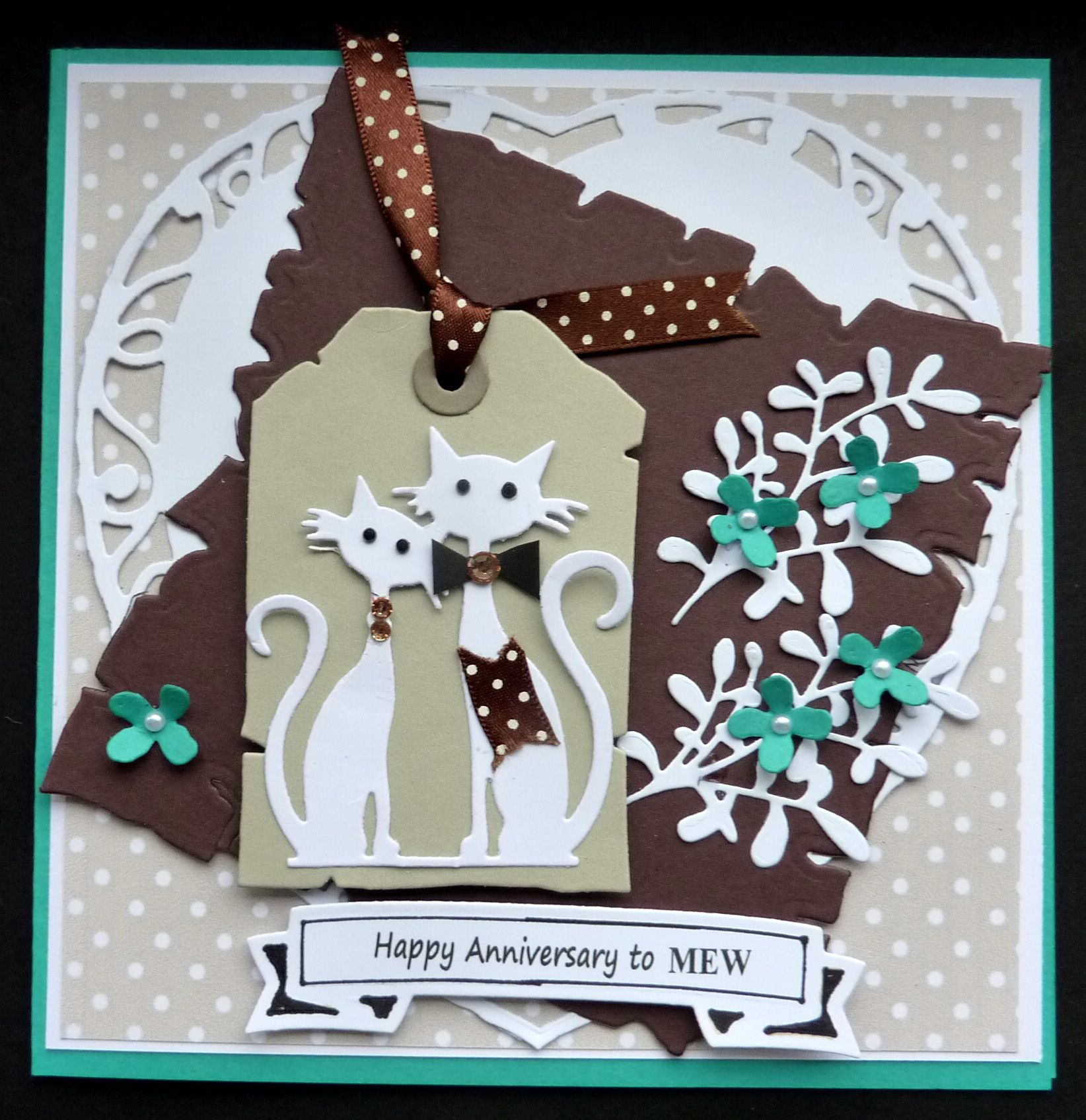 S247 Hand made Anniversary card using Marianne CR1254 and
