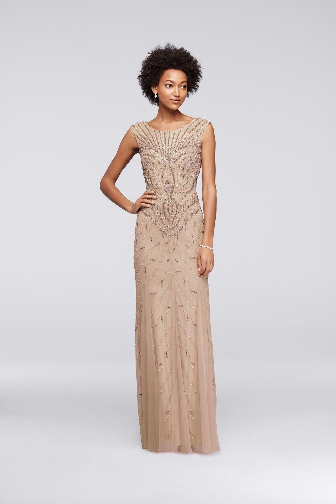Long Beaded Art Deco Dress With Cap Sleeves David S Bridal Art Deco Bridesmaid Dresses Art Deco Dress Vintage Bridesmaid Dresses