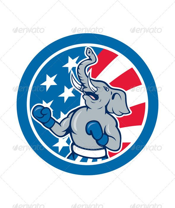 Republican Elephant Boxer Mascot Circle Vectors Work Republican Elephant Elephant Stickers Retro Illustration