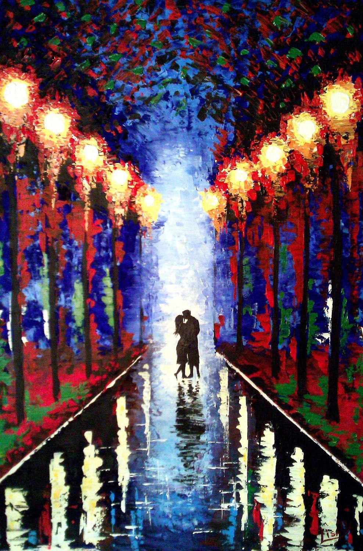 Original Painting Kiss In The Rain Kissing Couple