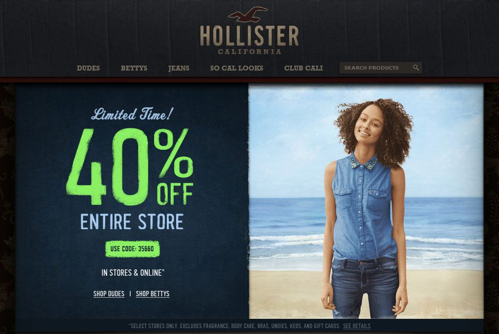 Pinned August 23rd Everything Is 40 Off At Hollister Or Online Via Promo Code 35660 Coupon Via The Coupons App Hollister Hollister California Coupon Apps