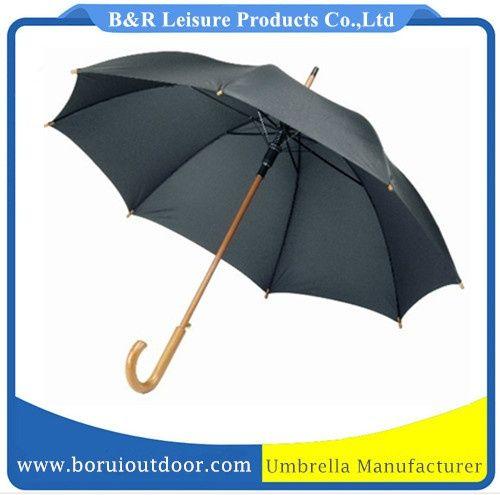 0e28feea7aa8 24 inch stick umbrella black Pongee wood shaft wood handle auto ...