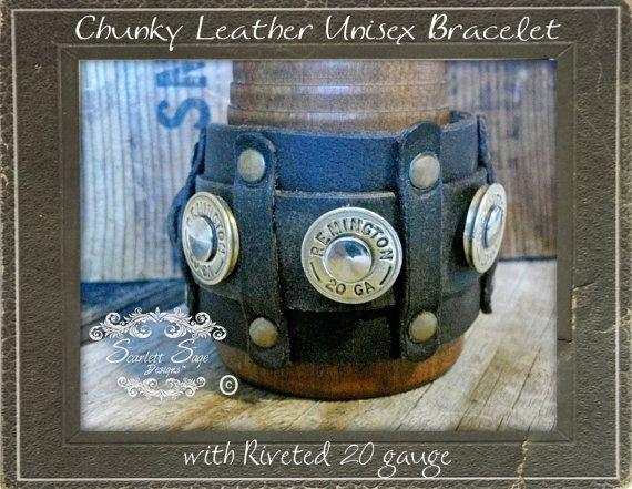 Leather Shotgun Shell Bracelet
