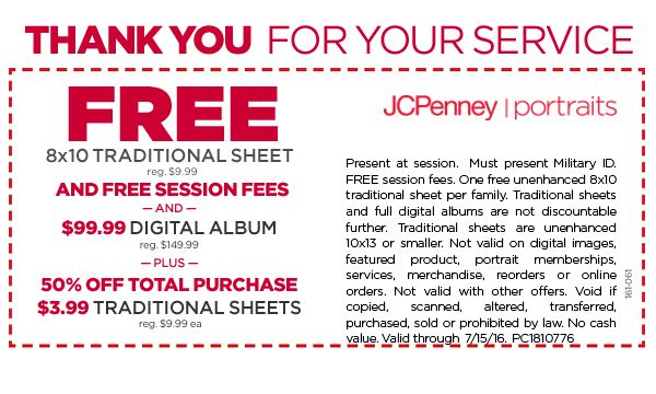 military discount coupon jcpenney
