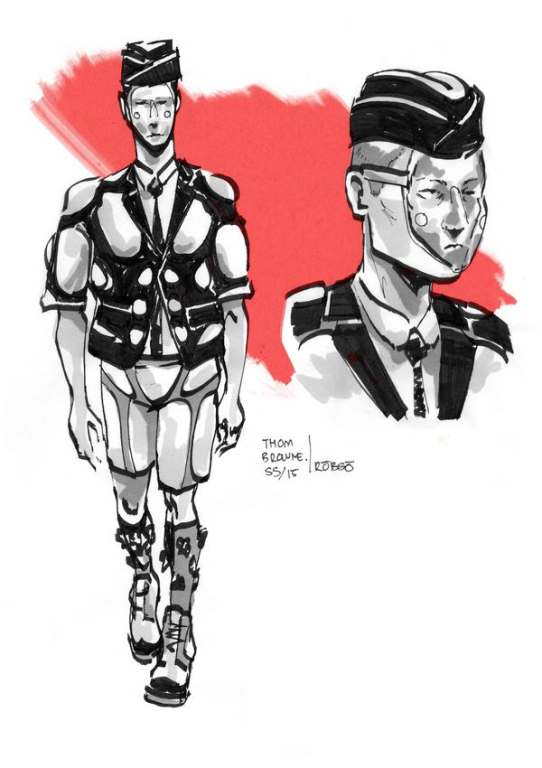Thom Browne S/S 2015 by Roberto Sánchez Illustration.Files: S/S 2015 Menswear Fashion Illustrations by Roberto Sánchez