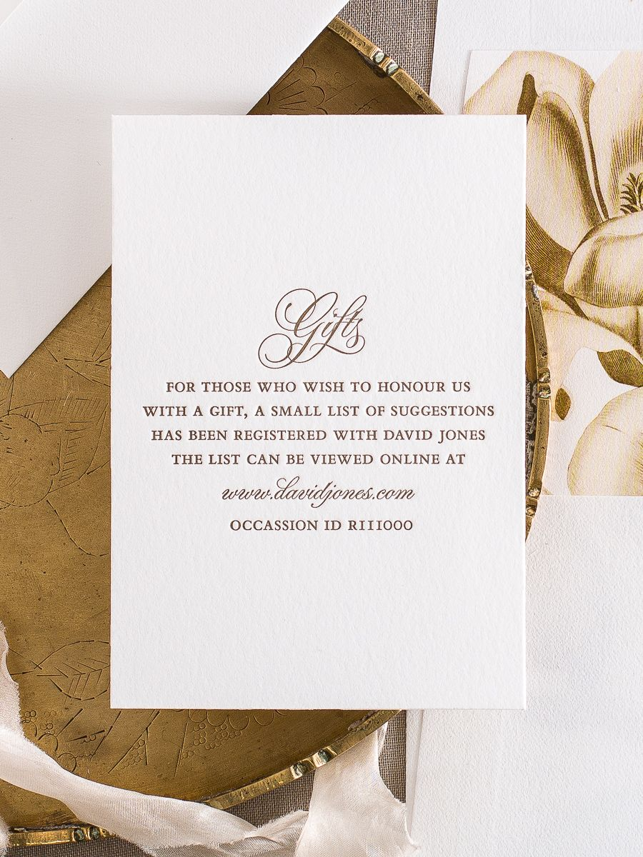 Gift cards to match our Amelia suite with example wording