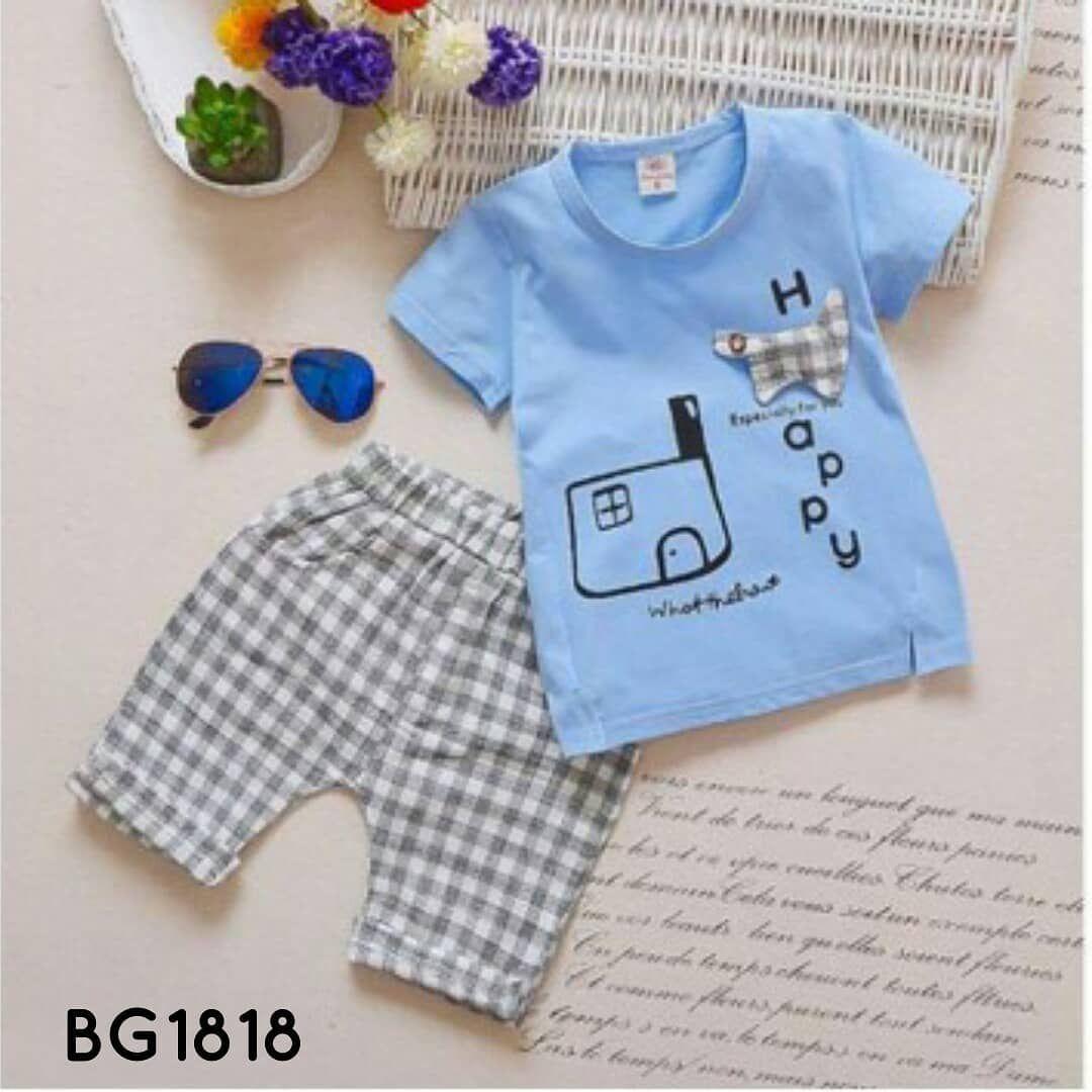 Setelan Kaos Kotak Biru Kode Bg1818 Idr 145rbu Baju Celana Pendek Motif Size Newborn 3 Pcs