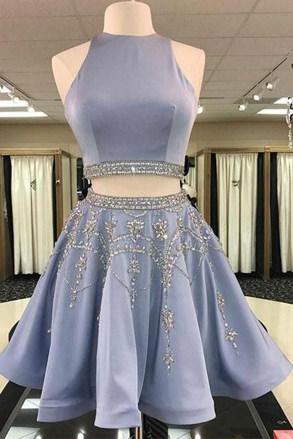 Blue homecoming dresses two pieces prom homecomingdressespretty also rh pinterest