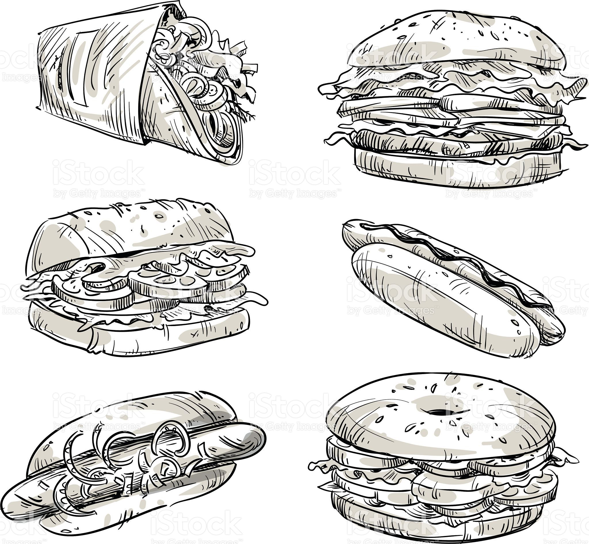 Sandwiches Fast Food Snacks Vector Sketch Royalty Free
