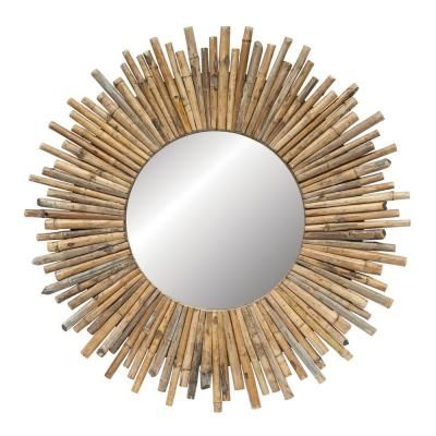 3r Studios Round Sunburst Bamboo Decorative Wall Mirror