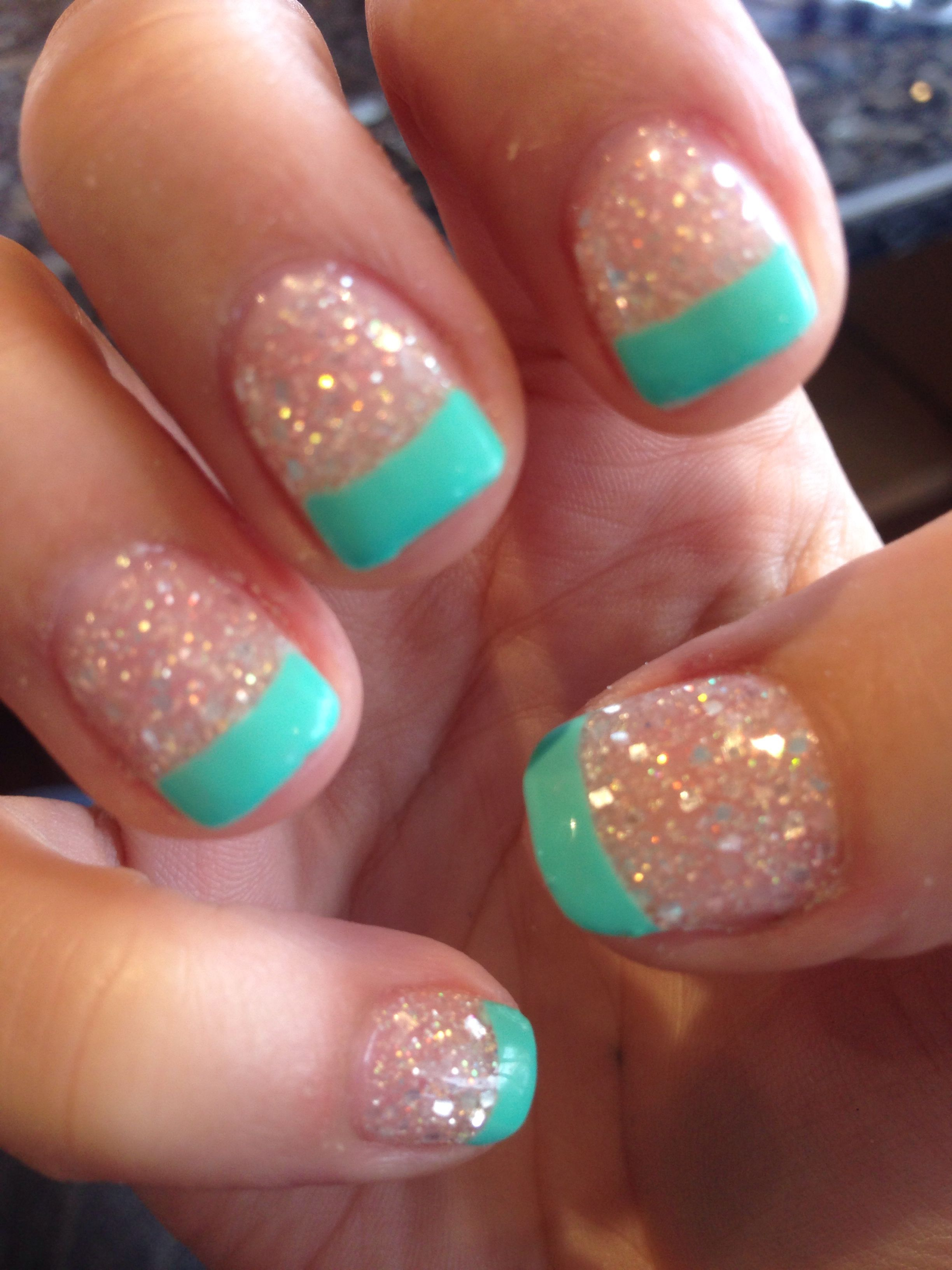 New nails crystal acrylic with tiffany blue tips nails