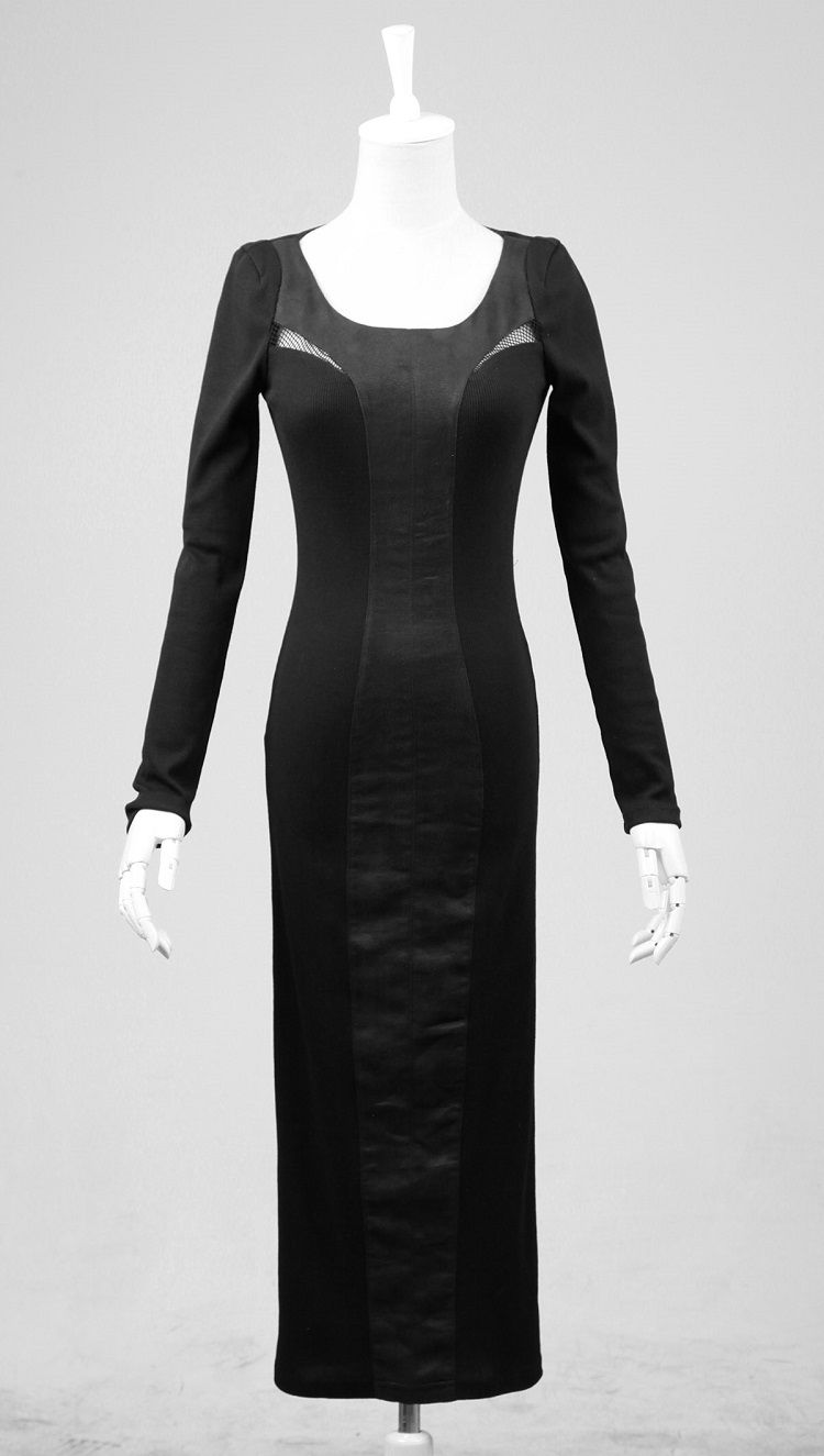 Transparent mesh long black gothic dresses with a split at the back