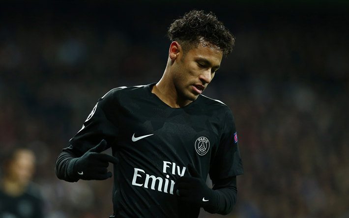 Download wallpapers 4k, Neymar, soccer, Paris Saint