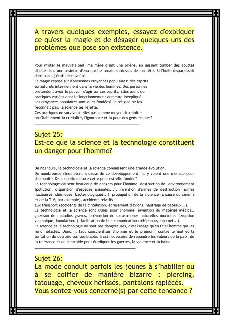 54 Sujets De Production Ecrite الملفات باك دوك Comprehension De Lecture Conseils D Ecriture Expression Ecrite